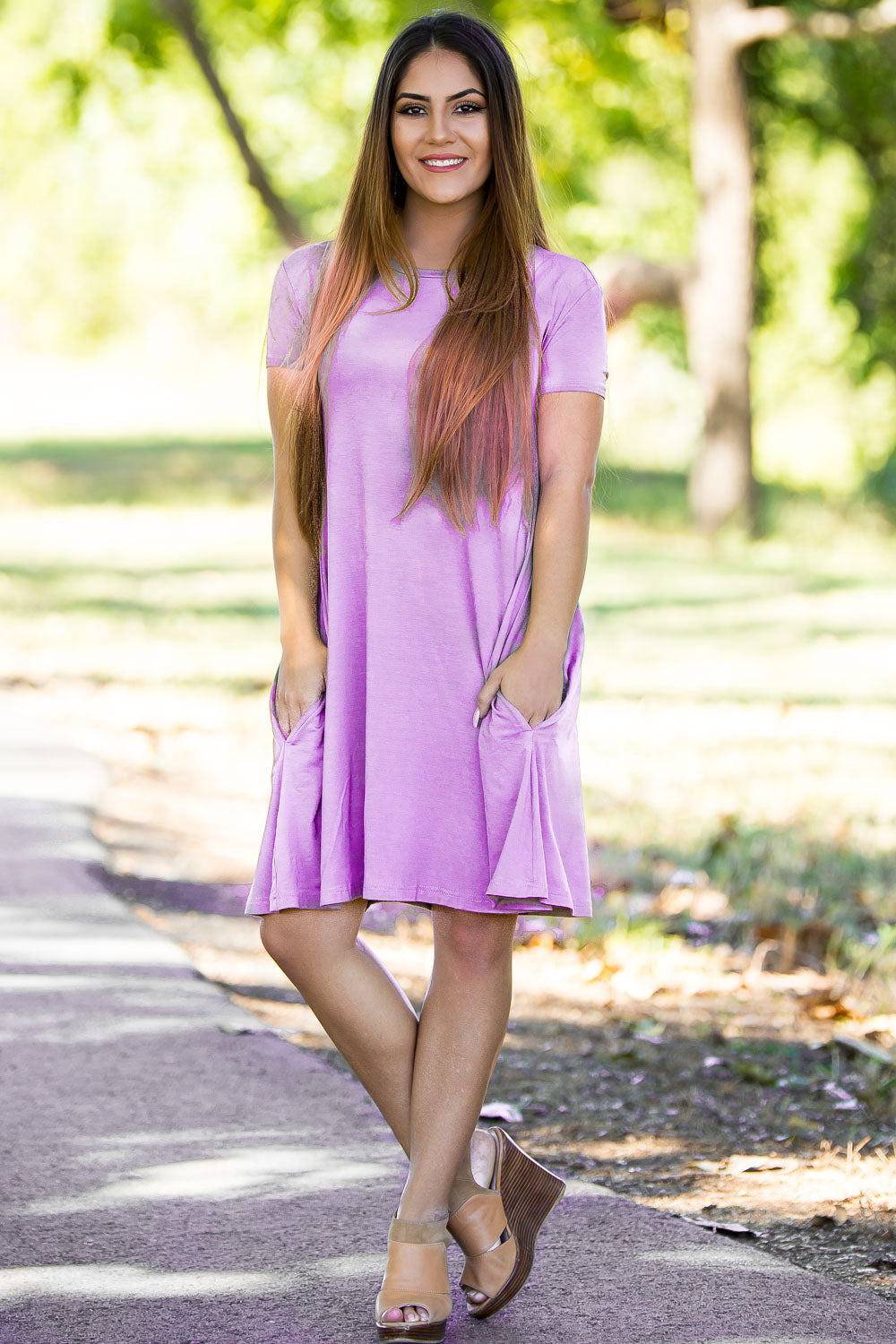 Piko Short Sleeve Swing Dress - Lilac - Piko Clothing