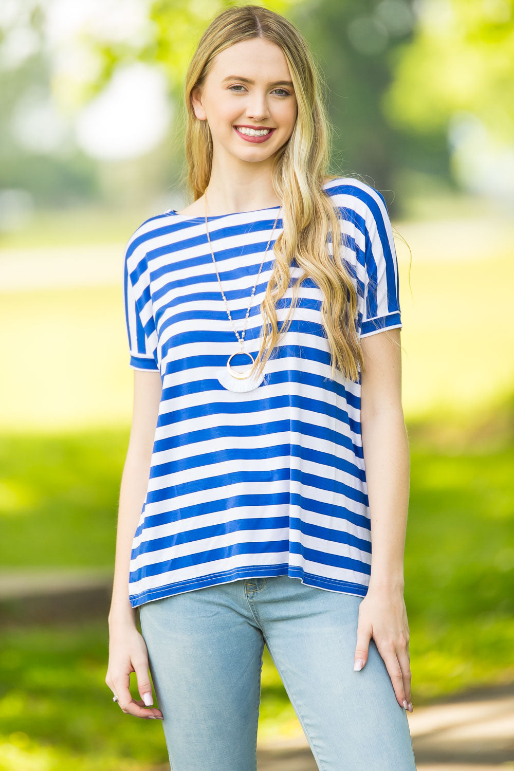 Short Sleeve Thick Stripe Piko Top - White/Royal
