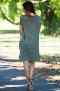 Piko Short Sleeve Swing Dress - Army - Piko Clothing