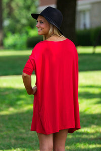 Half Sleeve Piko Tunic - Red - Piko Clothing