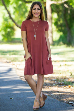 Piko Short Sleeve Swing Dress - Rust - Piko Clothing - 1