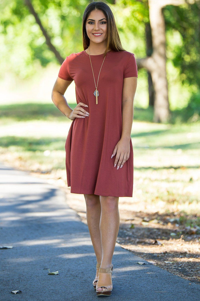 Piko Short Sleeve Swing Dress - Rust - Piko Clothing - 2