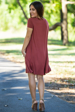 Piko Short Sleeve Swing Dress - Rust - Piko Clothing - 3