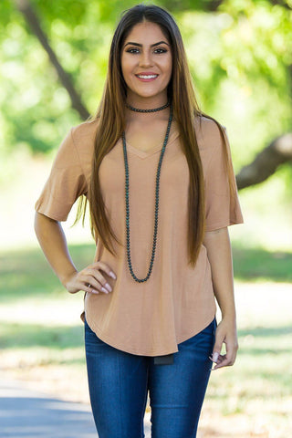Curved Hem Short Sleeve V-Neck Piko Top-Iced Coffee - Piko Clothing