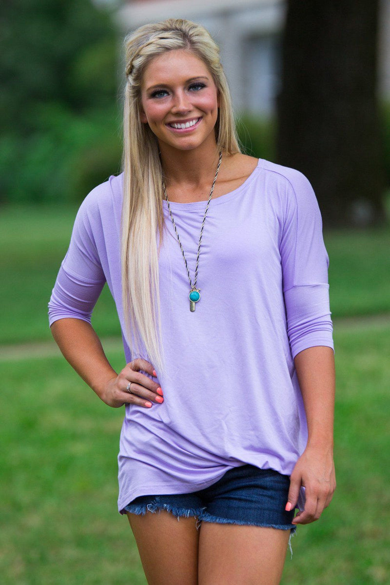 3/4 Sleeve Piko Top - Lilac - Piko Clothing