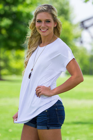 Short Sleeve Rolled Sleeve Piko Top - White - Piko Clothing - 1