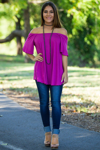Off The Shoulder Short Sleeve Piko Top - Orchid - Piko Clothing