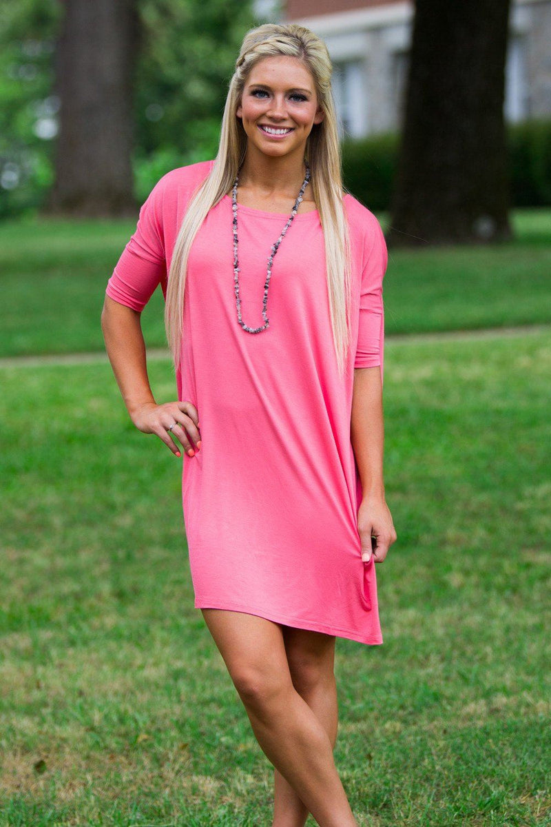 Half Sleeve Piko Tunic - Coral - Piko Clothing