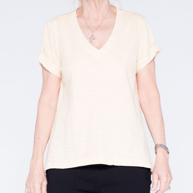 Roll Sleeve Baby V-neck