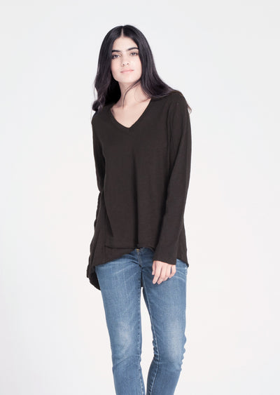 L/S Shrunken V-neck W/ Mock Hem