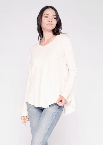 L/S Slouchy Shirt-tail Tunic Crew W/ Double Slit