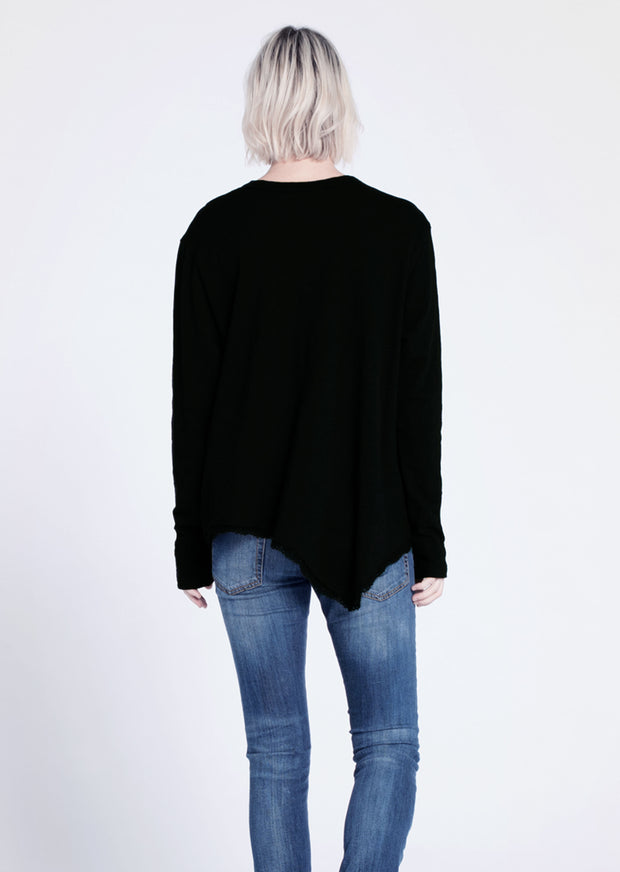 The L/S Slouchy Crew Double Slant Tunic Tee w/ Lace Hem