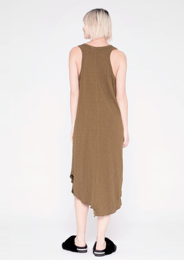 Shifted Mid-Calf Henley T-Dress