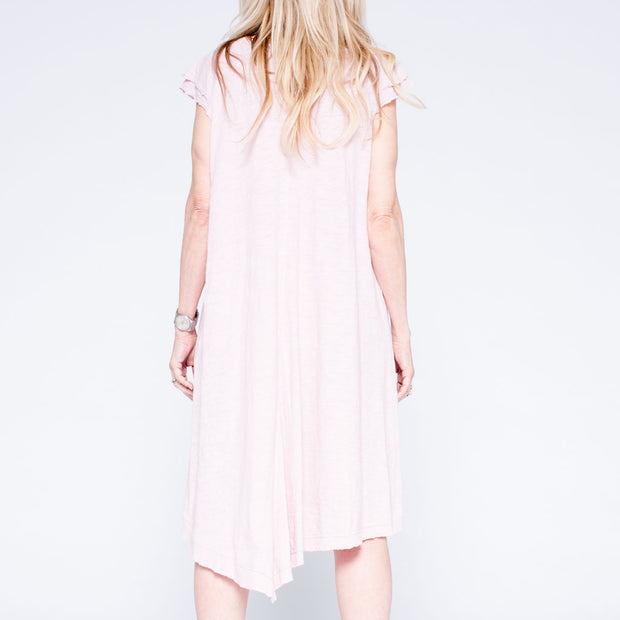 Double Flutter Twisted Mock Hem T Dress