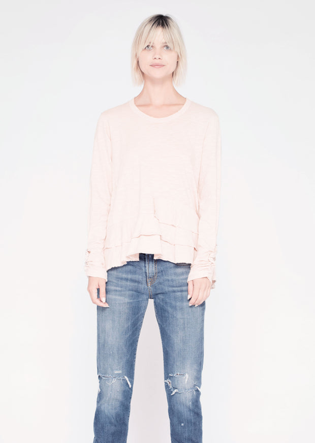 L/S Crew W/ Layered Hem & Ruched Sleeve