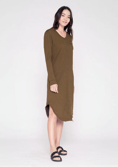 L/S Slim Shifted Shirt-tail Crew Dress