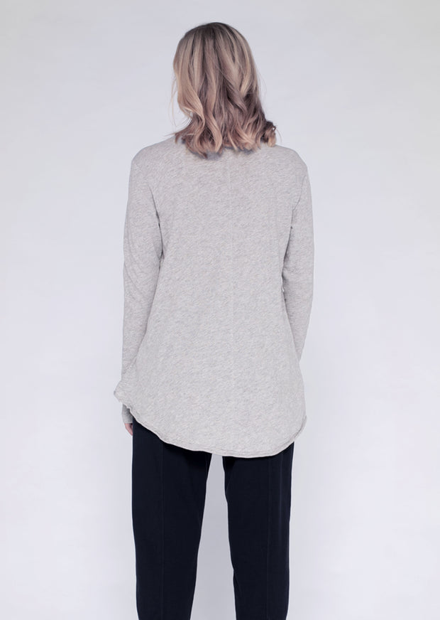 L/S Extreme Hi-Lo Tee W/ Raw Neck and Hem Line