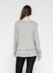 L/S Solid Double Tier Mock Hem Crew