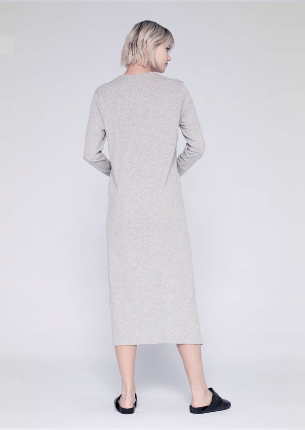 L/S Mid-Calf Crew Dress W/ Ring Snap Side Closure