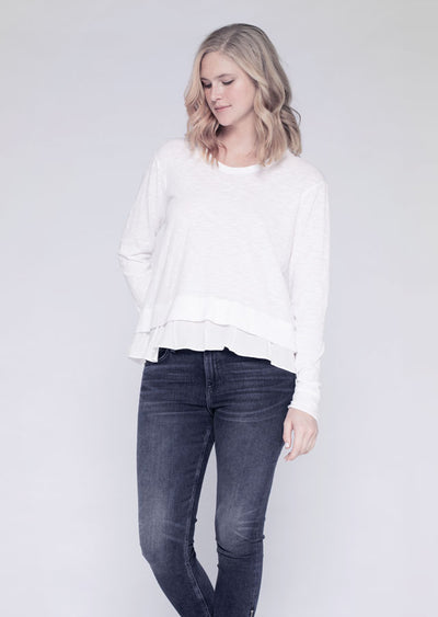 Baby Sweatshirt Tee W/ Mock Pleated Hem