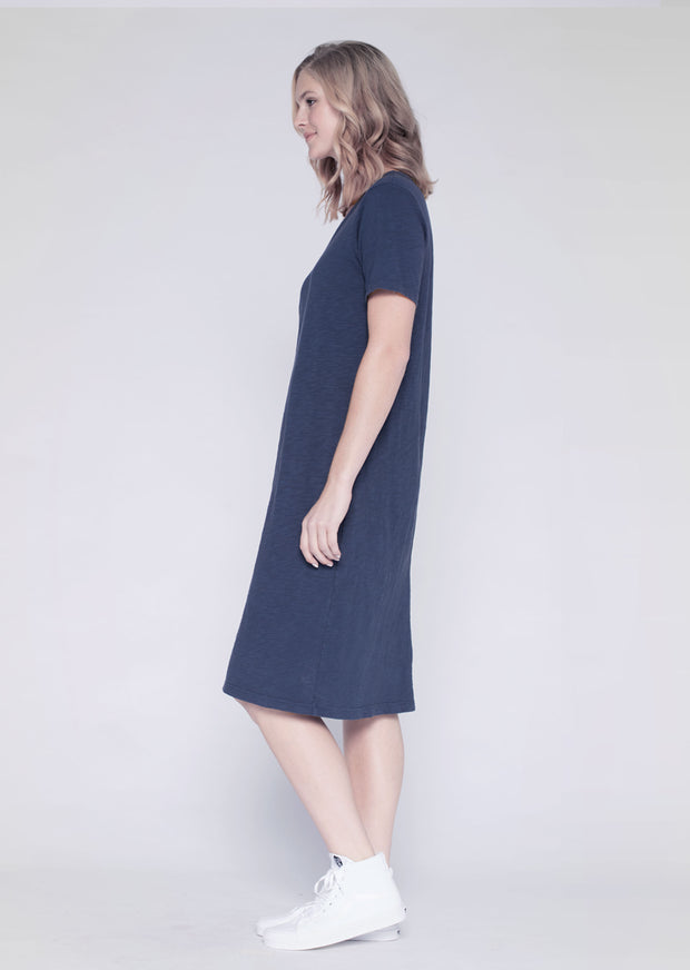 Slim Shifted Elbow Sleeve Mid-Calf Dress