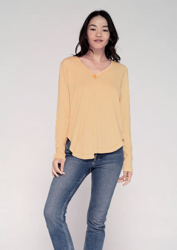 L/S Sexy (Mixed) Shirt-tail V W/ Sun Fade
