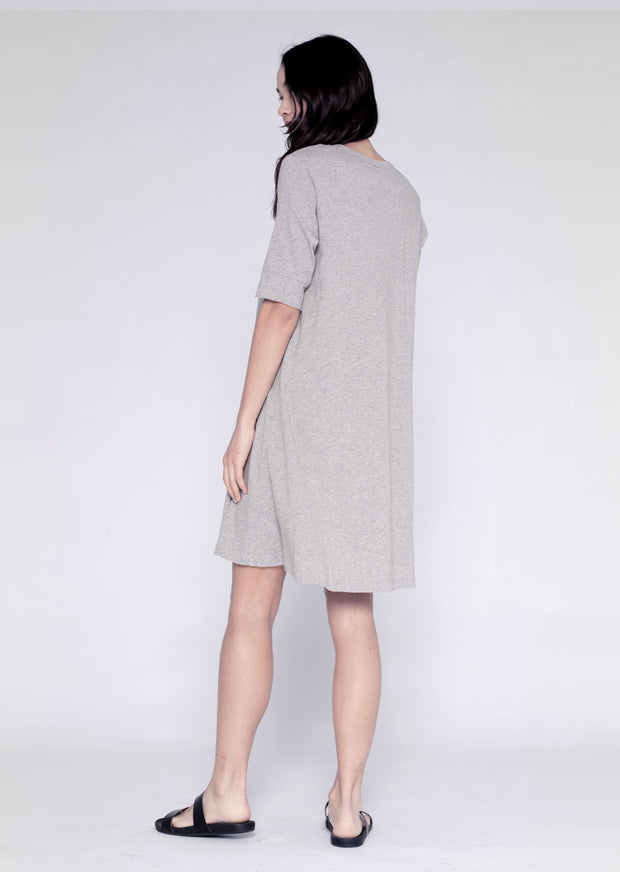 Open Scoopy-Neck Elbow T Dress
