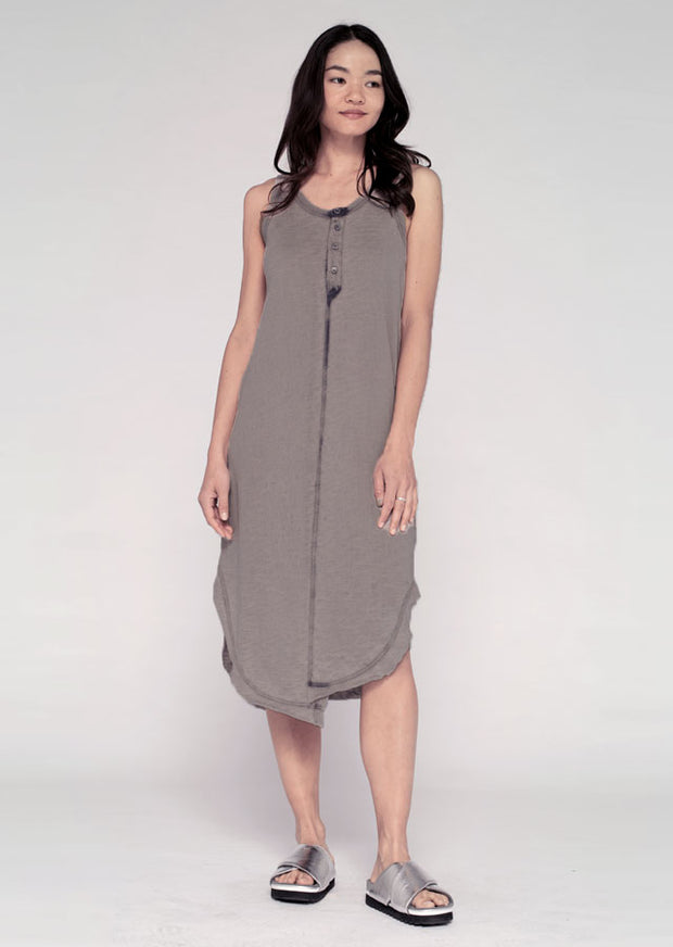 Mid Calf Shifted Henley Tank Dress W/ Sun Fade