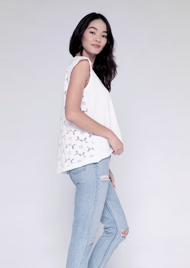 S/S Double Sleeve Hi-Lo T W/ Lace Back