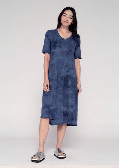 Shifted (Drop Flounce) Easy Dress W/ Tonal Tie-Dye