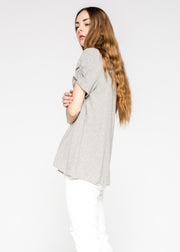 Shrunken Ruched Sleeve Tee Open Neck