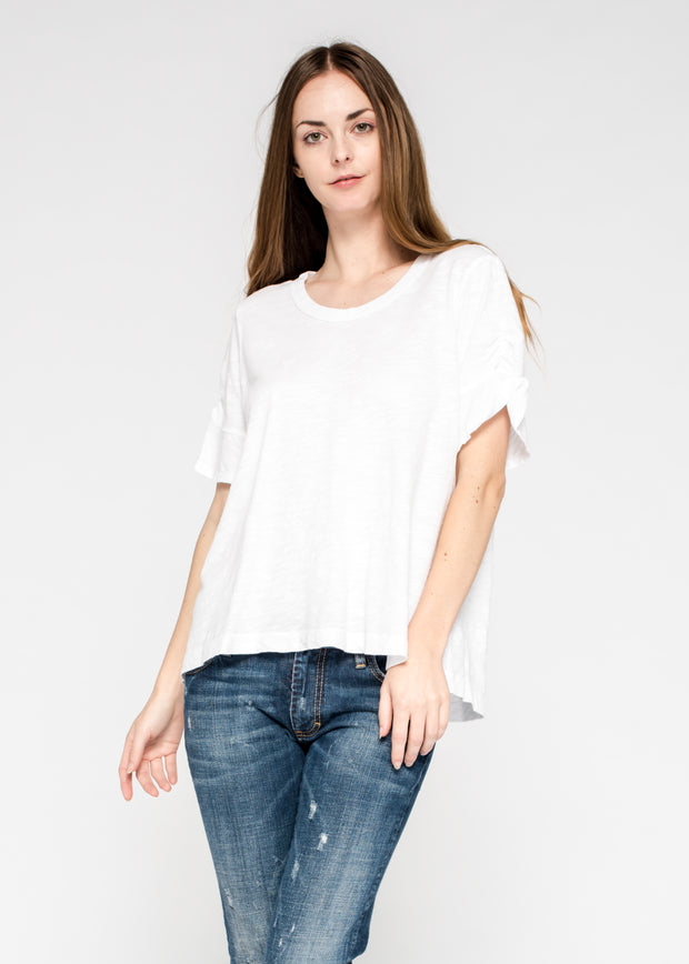 Elongated Tee Ruched Flutter Sleeve