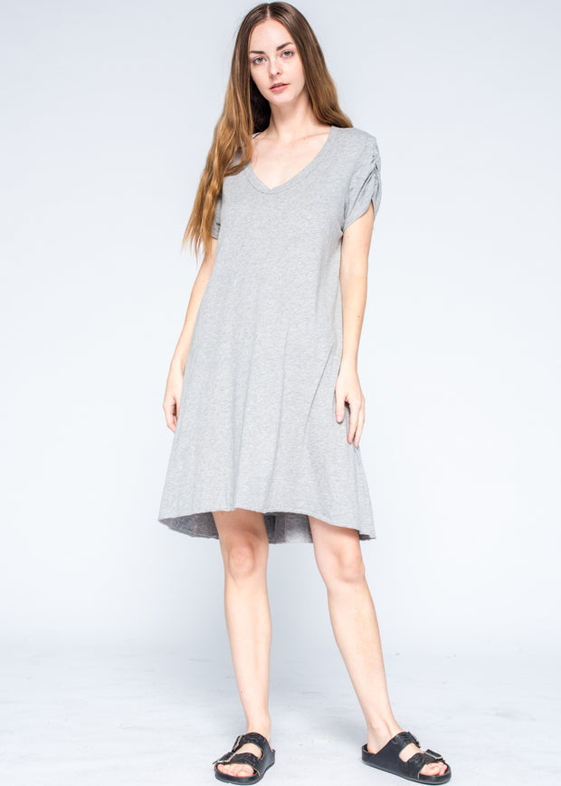 Ruched Sleeve Trapeze Tee Dress