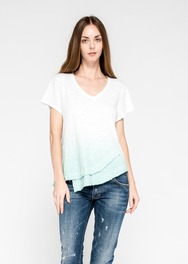 Fractured Shirttail Deep V S/S Tee Dipped