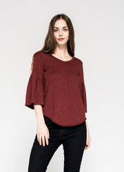 Shrunken Shirttail 3/4 Pleated Bell Sleeve