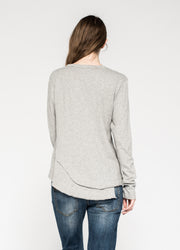 Fractured Shirttail Deep V L/S Tee