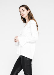 Open Neck Flutter Collar Shifted Tunic Tee