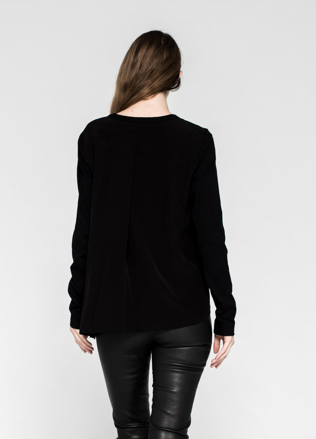 Mixed Tunic L/S Pleat Back Slit and Slanted Hem