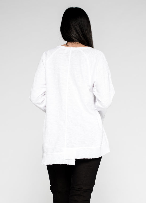 Shifted Mixed Tunic Sweatshirt Femme Sleeve
