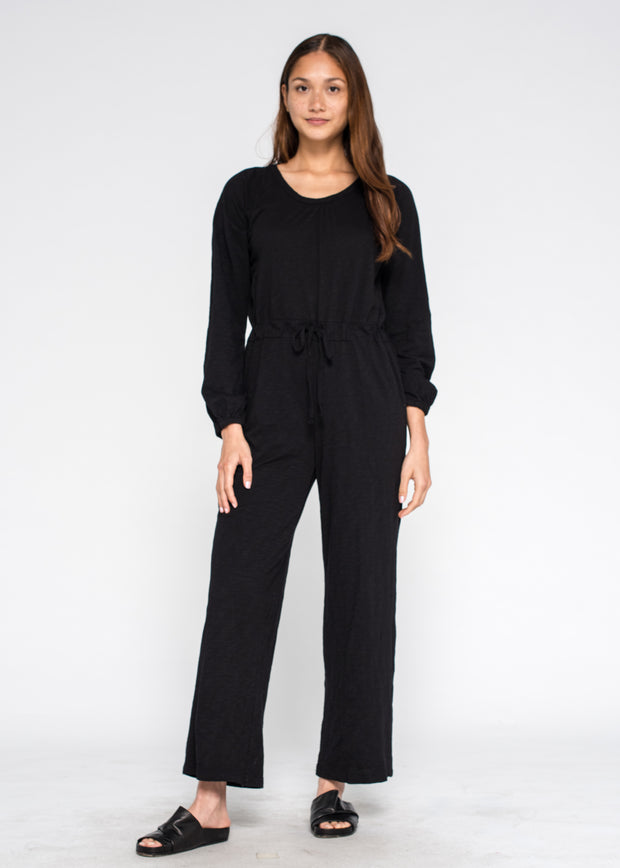Gathered NK Elastic Wrist Wide Leg Jumpsuit