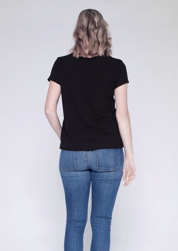 S/S V W/Raw Neck Band-Back