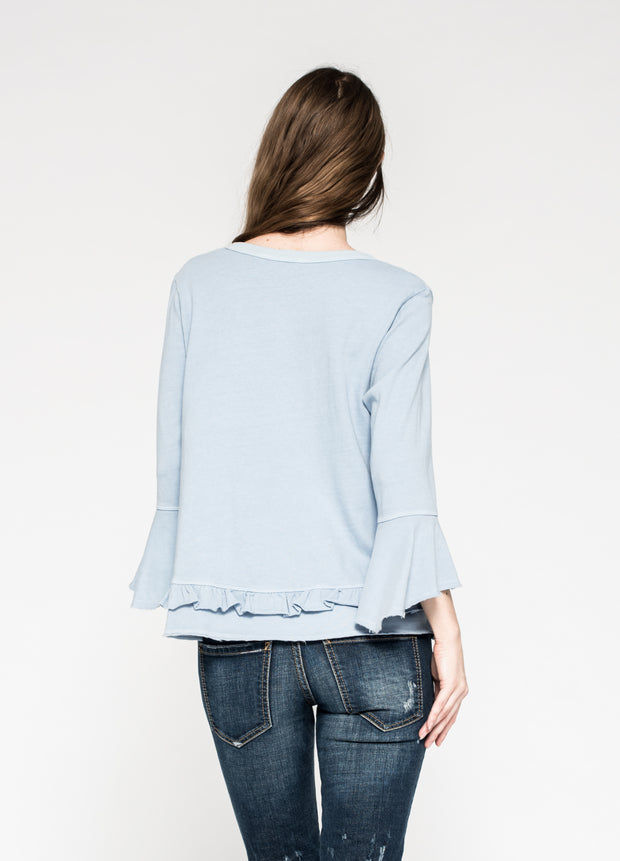 Raw Ruffled Crew Neck Trapeze Tee Flutter Sleeve