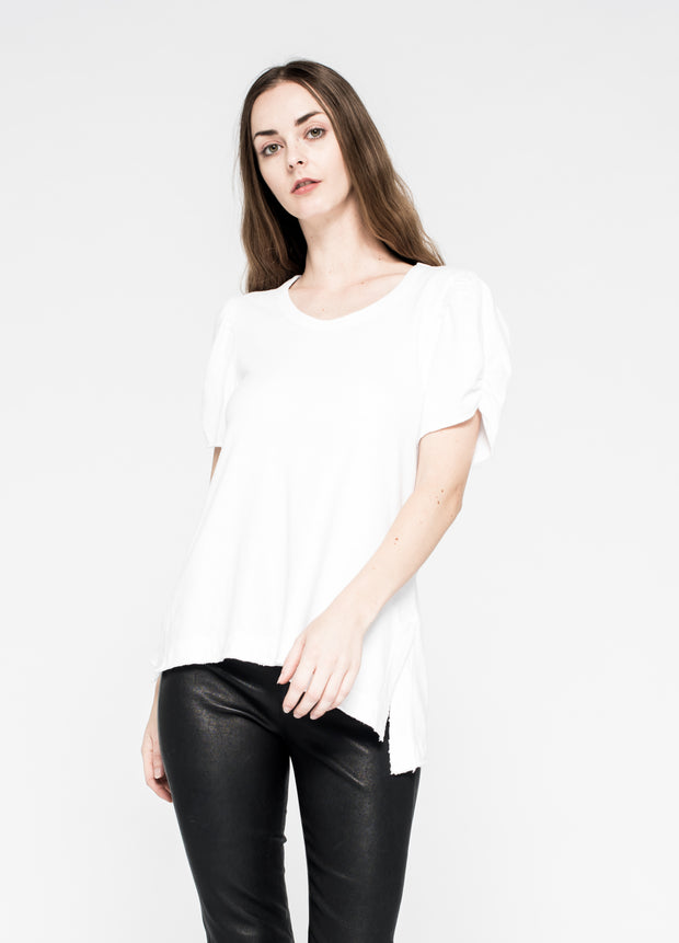 Shrunken Crew Ruched Sleeve Slant Hem Side Slits