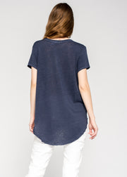 Shrunken Split Neck S/S Tee