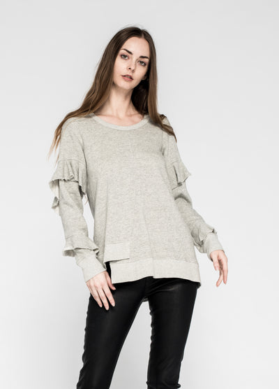 Twisted Shifted Tunic Sweatshirt Ruffle Sleeve
