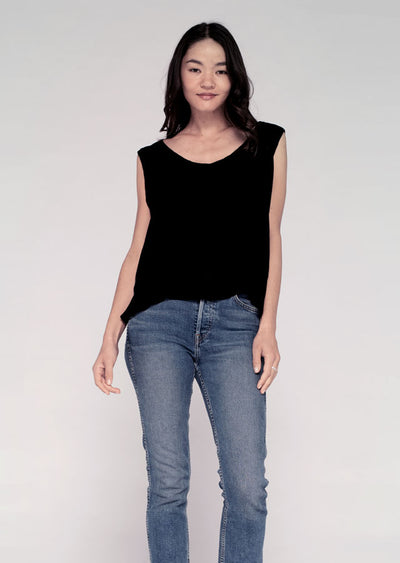 Strappy (Open Back) Shell Top W/ Mock Hem