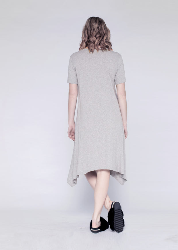 S/S Mid-Calf Dress W/ Longer Sides
