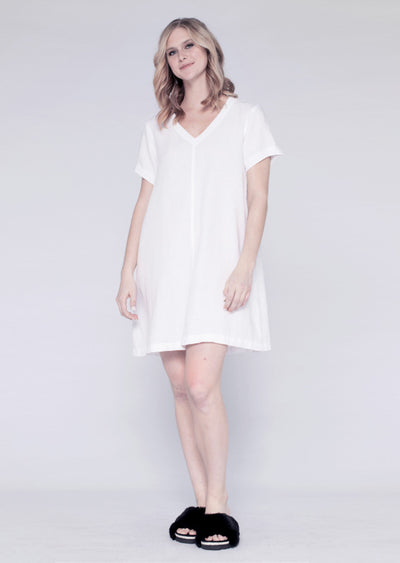 Mixed V Linen Trapeze T Dress