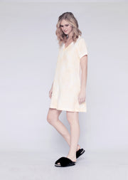 Mixed V Linen Trapeze T Dress W/ Soft Could