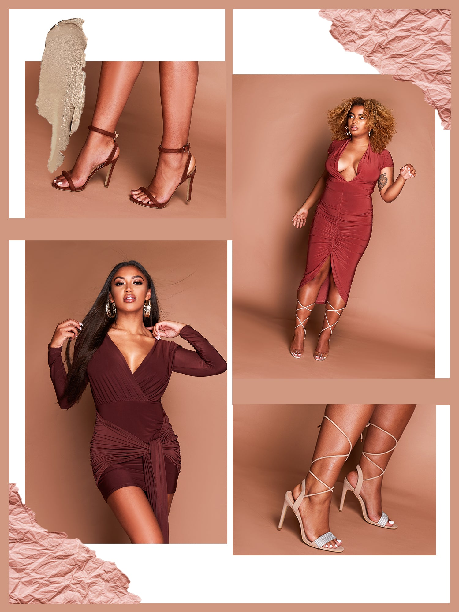 Rust mega plunge slinky bodycon dress featuring ruched detailing down the front. Chocolate coloured plunge dress featuring in a fitted slinky style material.